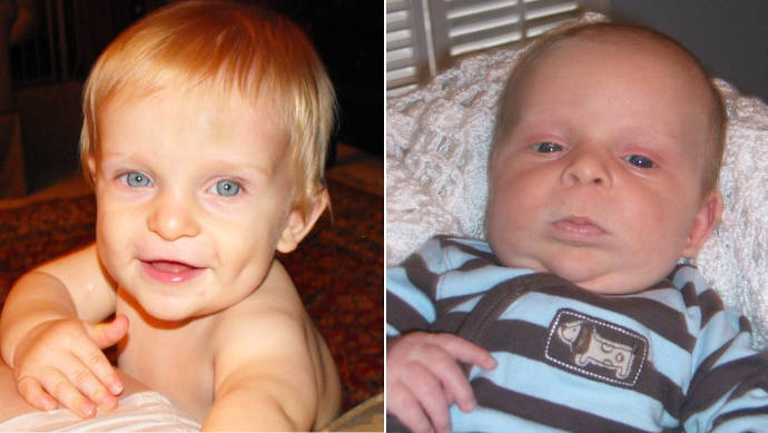 Matthew at 1 Month and 1 Year